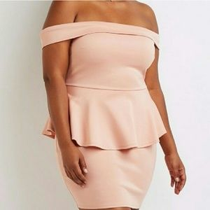 New Plus Size Off Shoulder Peplum Dress